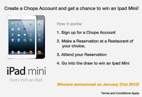 Sign up now to win an ipad mini