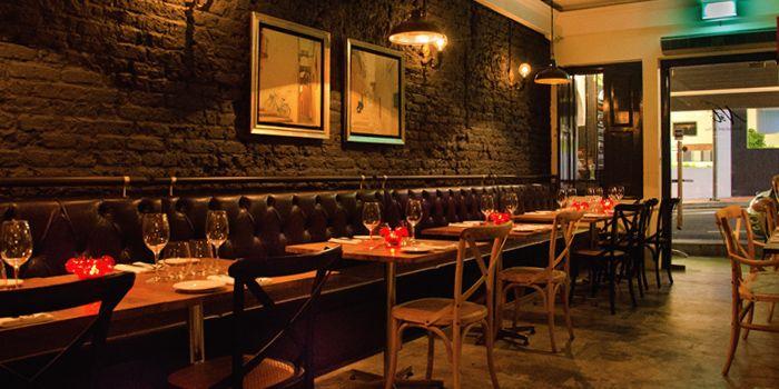 Dining room in Noti Restaurant on Club Street, Singapore