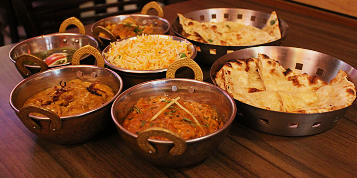 Food Spread from Aromas of India in Little India, Singapore.