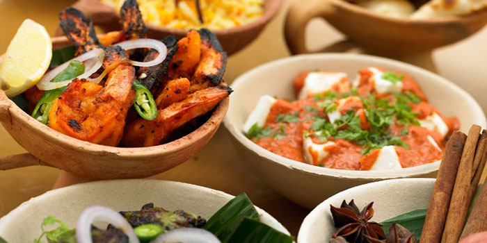 Indian Buffet from The Courtyard at The Fullerton Hotel Singapore in Raffles Place, Singapore