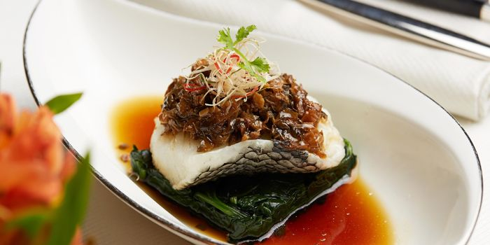 Seabass with Preserved Vegetables from Cassia serving Chinese cuisine at Capella Hotel on Sentosa Island, Singapore