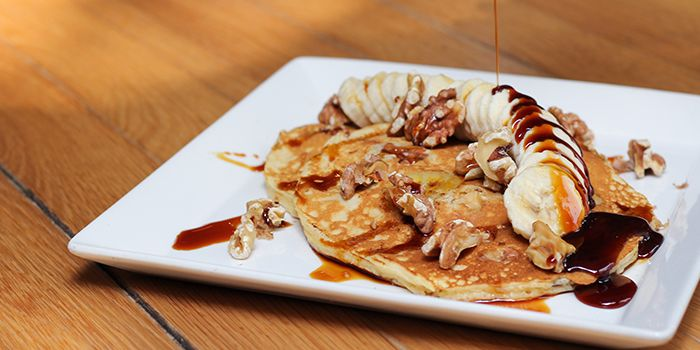 Banana Walnut Pancakes with Gula Melaka Syrup from Food For Thought in the National Museum of Singapore in Dhoby Ghaut, Singapore