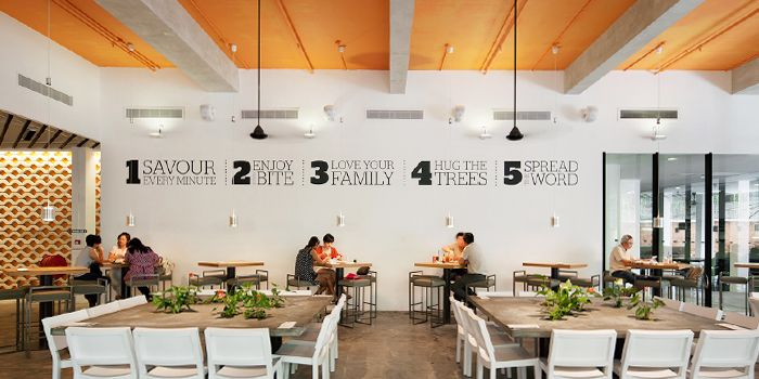 Interior of Food For Thought in Singapore Botanic Gardens in Tanglin, Singapore
