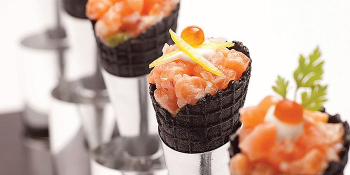 Salmon Squid Ink Cone from Shintaro at Anantara Siam in Ratchadamri, Bangkok