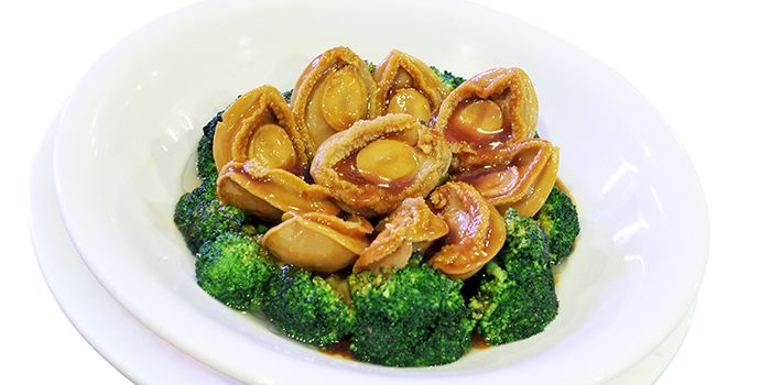 Broccoli with Abalone from JinJi Teochew Steamboat Restaurant (Outram) in Outram, Singapore