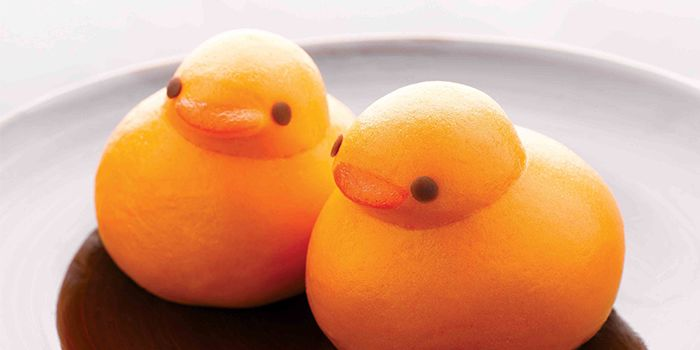 Yellow Duckling Buns filled with Nutella and Yam Paste