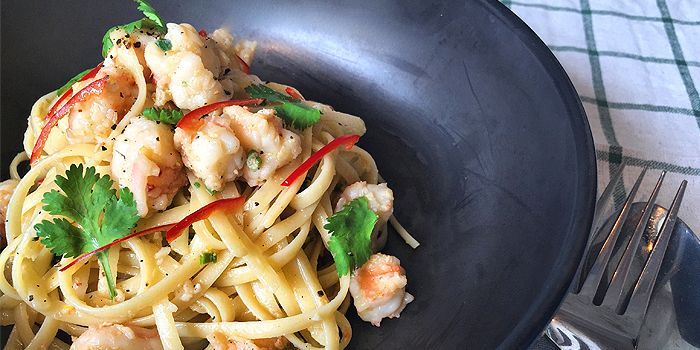 Garlicky Prawn Spicy Aglio Olio from CreatureS in Jalan Besar, Singapore