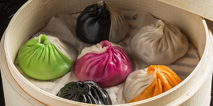 Bi-coloured Xiao Long Bao Dumplings, The Drunken Pot, Tsim Sha Tsui, Hong Kong