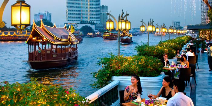 River View from Riverside Terrace at Mandarin Oriental, Bangkok