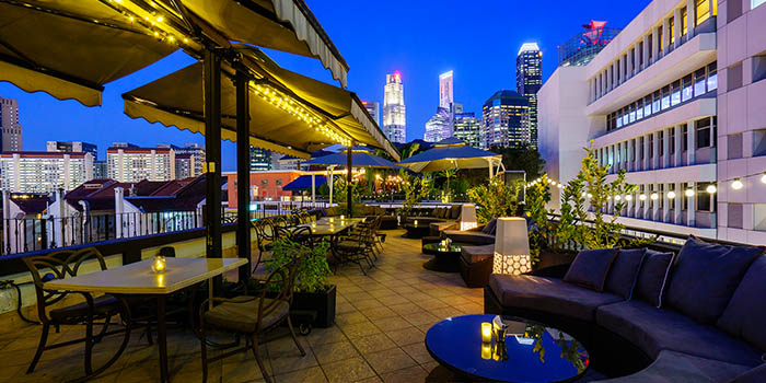 Verandah of Aria Roofbar at The Scarlet Hotel on Ann Siang Hill in Tanjong Pagar, Singapore