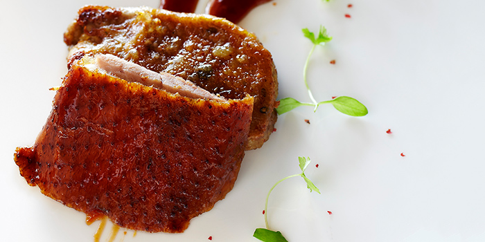Pan Fried Foie Gras with Barbecued Peking Duck from Hai Tien Lo in Pan Pacific Singapore in Promenade, Singapore