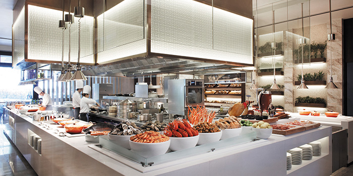 Interior of Marriott Cafe at Marriott Tang Plaza Hotel in Orchard, Singapore
