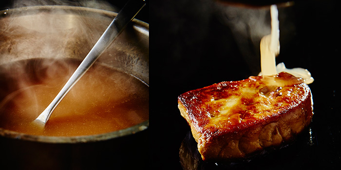 Pan Fried Foie Gars in Strawberry Lime Cider and Pear Soup from A*MUSE Omakase in Tiong Bahru, Singapore