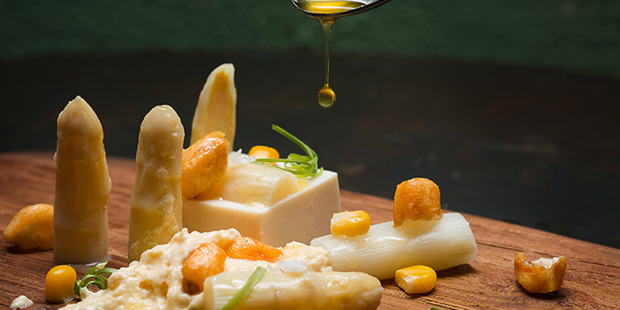 White Asparagus & Corn from Esquina in Chinatown, Singapore