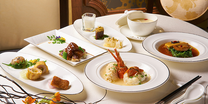 Food Spread from Cassia serving Chinese cuisine at Capella Hotel on Sentosa Island, Singapore