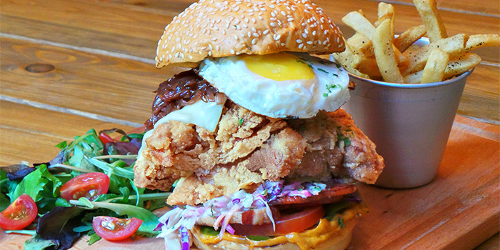 Mother of all Chicken Burgers from Hungry Heroes in Farrer Park, Singapore