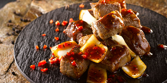 Beef Cubes in Black Pepper Sauce from Crystal Jade Dining IN Restaurant in VivoCity in Harbourfront, Singapore
