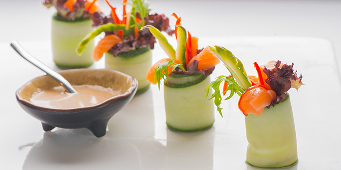 Jellyfish & Salmon in Cucumber Wrap from Xi Yan Private Dining in Tanjong Pagar, Singapore