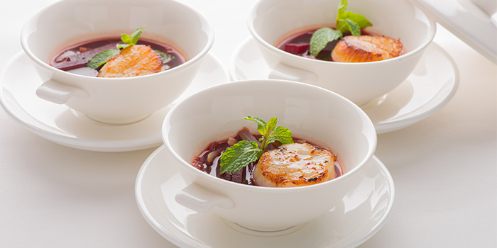 Pan Fried Hokkaido King Scallop Beetroot Broth from Xi Yan Private Dining in Tanjong Pagar, Singapore