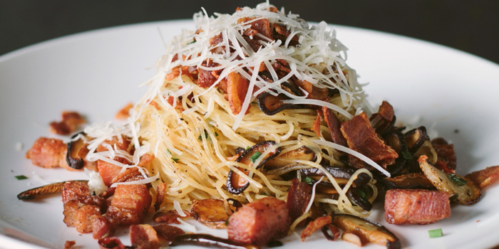 Angel Hair Olio Mushroom & Bacon from White Shuffle at CentralFestival EastVille, Bangkok