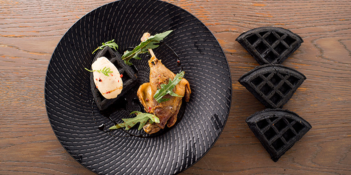 Duck & Charcoal Waffles from The Disgruntled Chef in Dempsey, Singapore