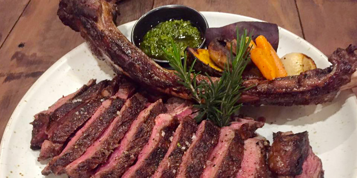 Australian Grain fed Tomahawk with Roast Vegetable and Chimichurri from Toby