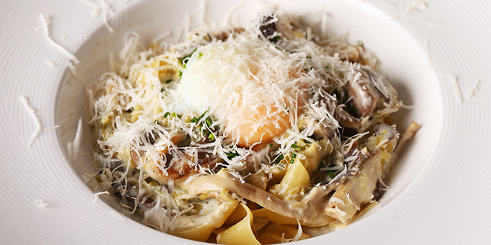 Mushroom and Leek Carbonara from NUDE Seafood in Marina Bay Financial Centre in Raffles Place, Singapore