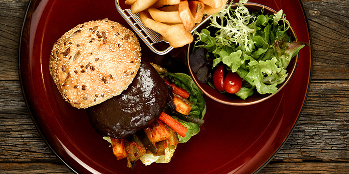 Ayam Buah Keluak Burger from Baba Chews Bar and Eatery in Hotel Indigo Singapore Katong in East Coast, Singapore