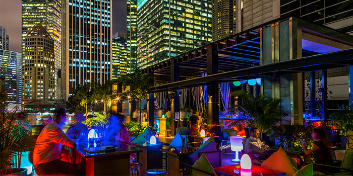 Rooftop Bar at HI-SO Rooftop Pool Bar atop SO Sofitel Singapore in Raffles Place, Singapore