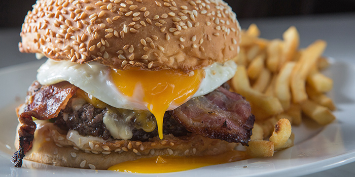 Breakfast Burger from The Market Grill at Telok Ayer in Raffles Place, Singapore