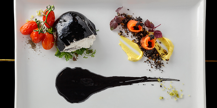 Squid Ink Burrata from Basilico in Regent Singapore in Tanglin, Singapore