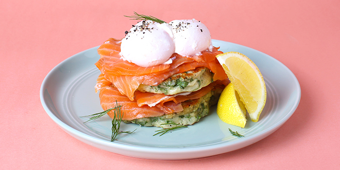 House Smoked Salmon & Kale Pancakes from OverEasy (Orchard) in Orchard, Singapore