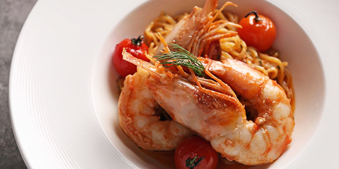 King Prawn Tagliolini from NUDE Seafood in Marina Bay Financial Centre in Raffles Place, Singapore