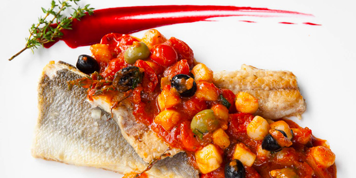 Seabass Caponata from Ugolini Restaurant & Bistro in Thonglor, Bangkok