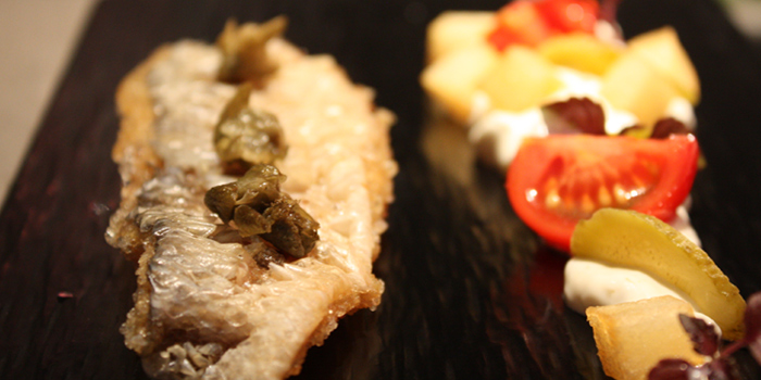 Shallow Fried Crispy Threadfin Fish With Pickle And Capers Sauce, QMO GASTROBAR, Wan Chai, Hong Kong