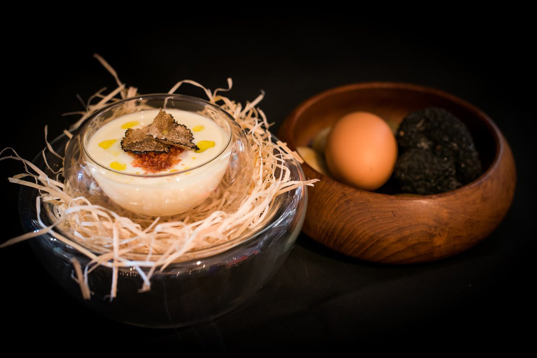 45 Minutes Slow Cooked Egg on a Parmesan Cheese Fondue, Fresh Black Truffle and Crispy Pancetta Powder from Acqua Restaurant in Patong-Kathu, Phuket, Thailand