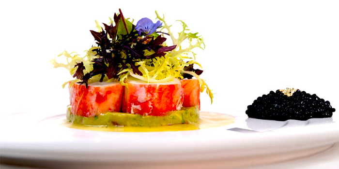 Alaskan King Crab Salad on Avocado and Smoked Avruga Caviar from Acqua Restaurant in Patong-Kathu, Phuket, Thailand