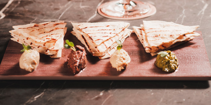 Flat Bread and Trio of Dips from Alchemist Beer Lab at South Beach Avenue in Bugis, Singapore