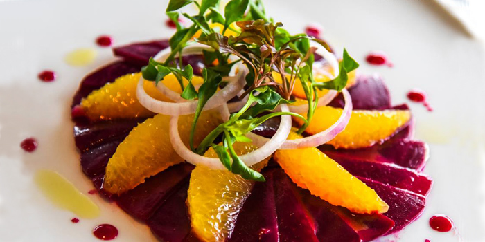 Beetroot and Tangerine Salad from The 9th Floor restaurant & bar in Sky Inn Condotel Patong Kathu Phuket, Thailand