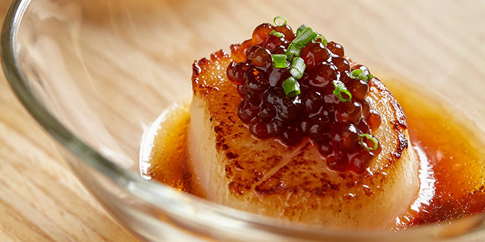 Grilled Scallops with Soy Caviar from FOC Restaurant on Hong Kong Street in Boat Quay, Singapore