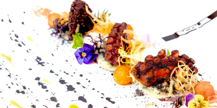Grilled Spiced Octopus on a Trilogy of Rosemary Potatoes from Acqua Restaurant in Patong-Kathu, Phuket, Thailand