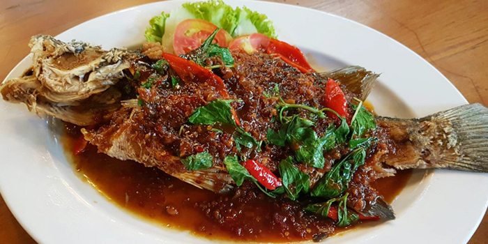 Grouper Topped With Chili from Bann Klang Krung- Rama3 on Rama 3 Road, Bangkok