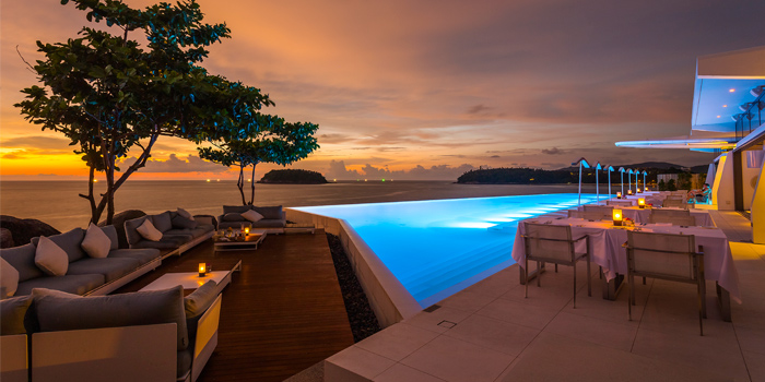 Pool Restaurant Sunset Oceanview of Kata Rocks Oceanfront Restaurant in Kok-Tanode Road Karon Muang Phuket, Thailand