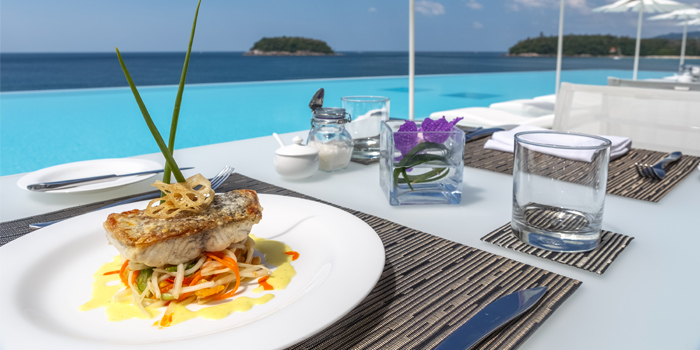 Restaurant Day Food Mahimahi Oceanview from Kata Rocks Oceanfront Restaurant in Kok-Tanode Road Karon Muang Phuket, Thailand