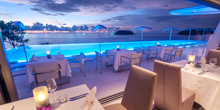 Restaurant Sunset Pool Oceanview of Kata Rocks Oceanfront Restaurant in Kok-Tanode Road Karon Muang Phuket, Thailand