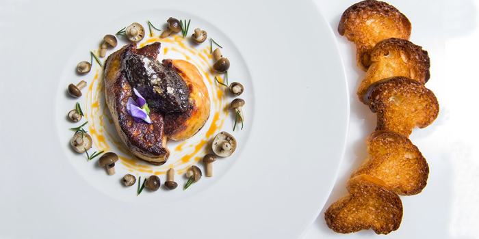 Seared Foie Gras, Pickled wild mushrooms, Moscato Wine Reduction from Acqua Restaurant in Patong-Kathu, Phuket, Thailand