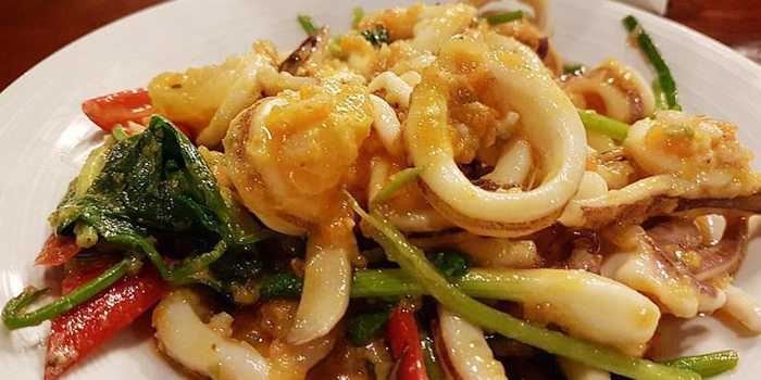 Stir Fried Squid With Salted Eggs from Bann Klang Krung- Rama3 on Rama 3 Road, Bangkok
