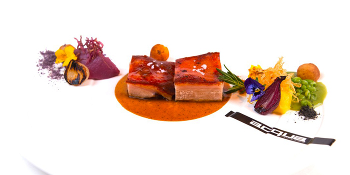 Wood Fired Roasted Suckling Pig Saffron and Violette Potatoes from Acqua Restaurant in Patong-Kathu, Phuket, Thailand