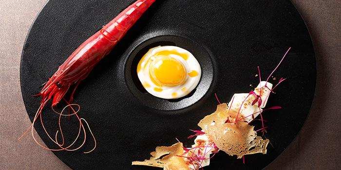 Carabinero Prawn, Carbonara Parmesan Cream, Soft Poached Egg from Stellar at 1-Altitude in Raffles Place, Singapore