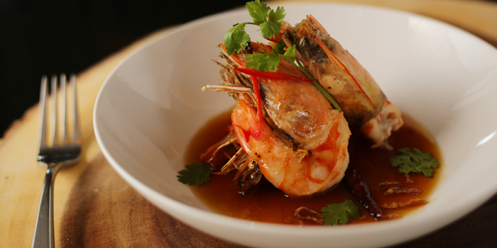 Deep Fried Tiger Prawns with Tamarind Sauce from Phuket Marriott Resort and Spa, Nai Yang Beach, Phuket, Thailand.